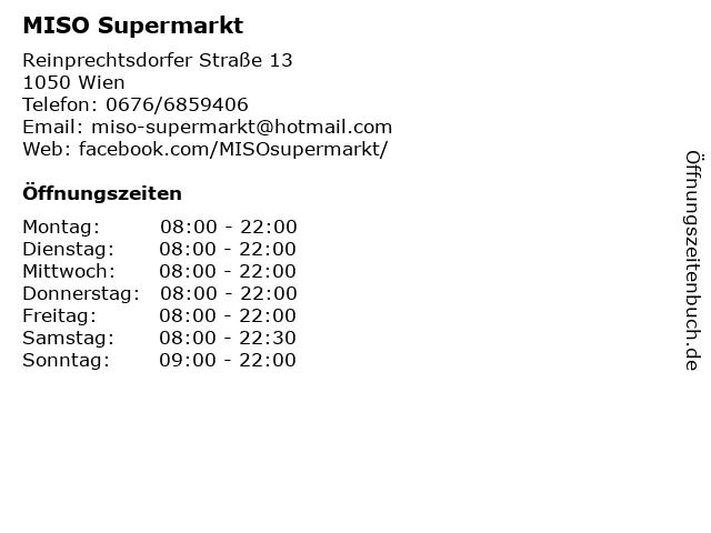 MISO Supermarkt in Wien: Adresse und Öffnungszeiten