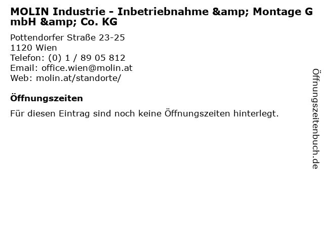 MOLIN Industrie - Inbetriebnahme & Montage GmbH & Co. KG in Wien: Adresse und Öffnungszeiten