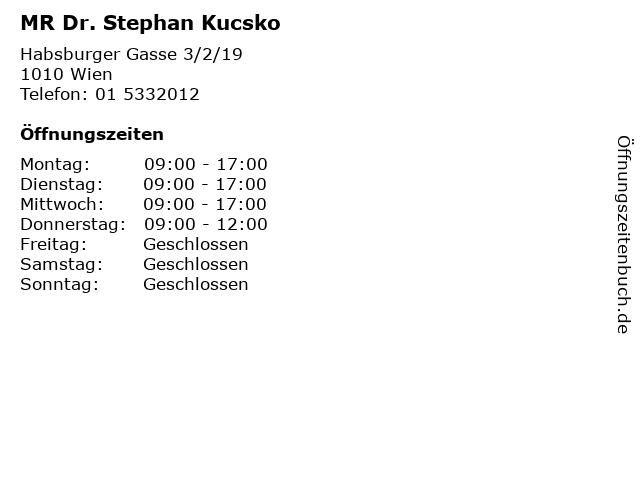 MR Dr. Stephan Kucsko in Wien: Adresse und Öffnungszeiten