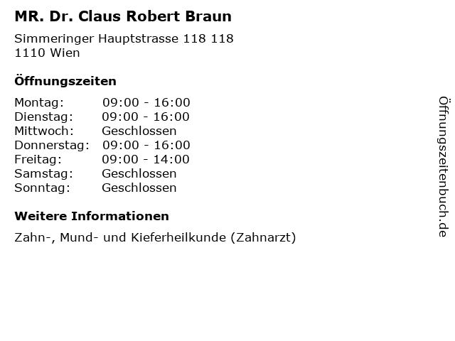 MR. Dr. Claus Robert Braun in Wien: Adresse und Öffnungszeiten