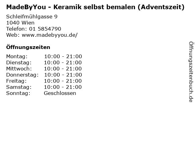 MadeByYou - Keramik selbst bemalen (Adventszeit) in Wien: Adresse und Öffnungszeiten
