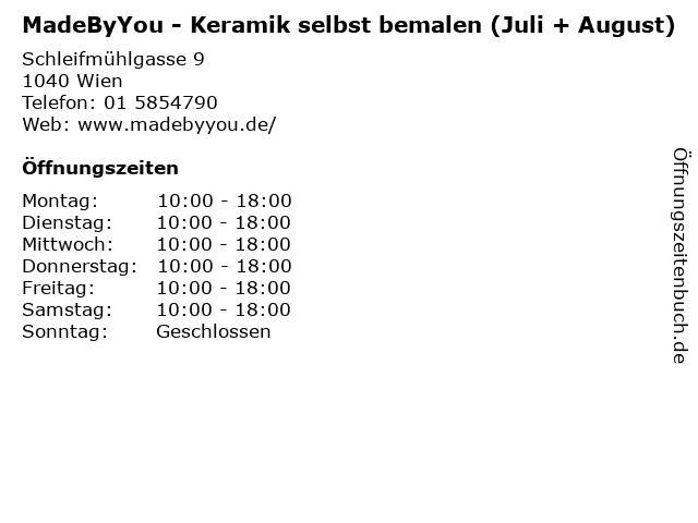 MadeByYou - Keramik selbst bemalen (Juli + August) in Wien: Adresse und Öffnungszeiten