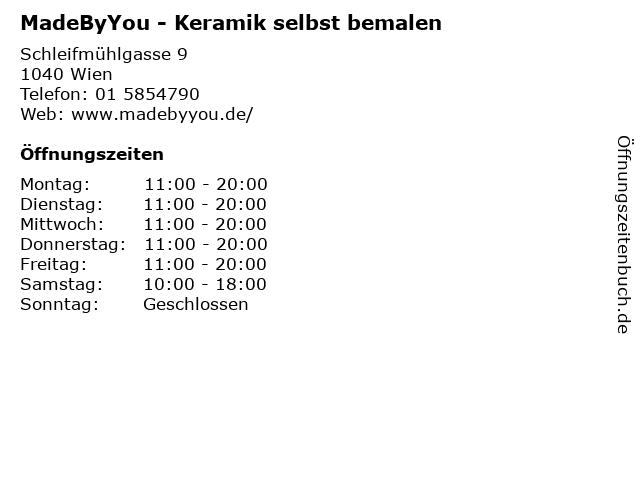 MadeByYou - Keramik selbst bemalen in Wien: Adresse und Öffnungszeiten