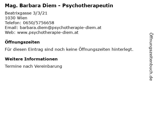Mag. Barbara Diem - Psychotherapeutin in Wien: Adresse und Öffnungszeiten