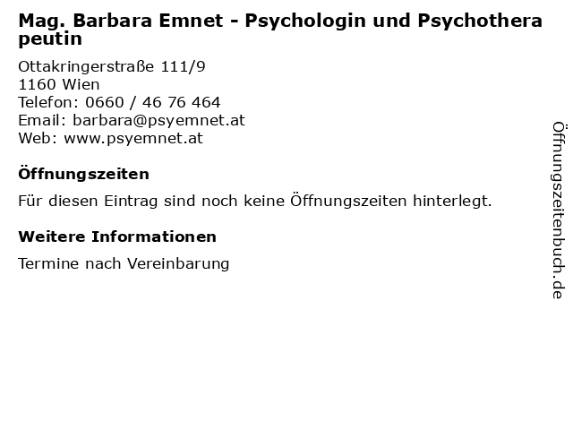 Mag. Barbara Emnet - Psychologin und Psychotherapeutin in Wien: Adresse und Öffnungszeiten