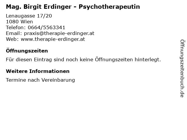 Mag. Birgit Erdinger - Psychotherapeutin in Wien: Adresse und Öffnungszeiten