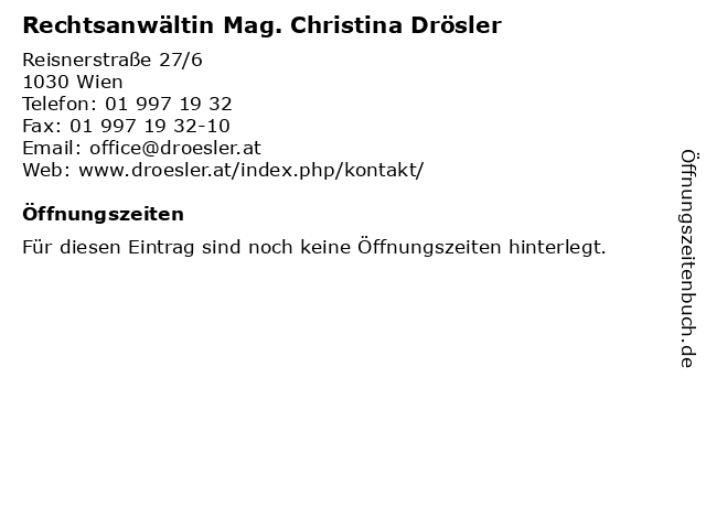 Mag. Christina Drösler in Wien: Adresse und Öffnungszeiten