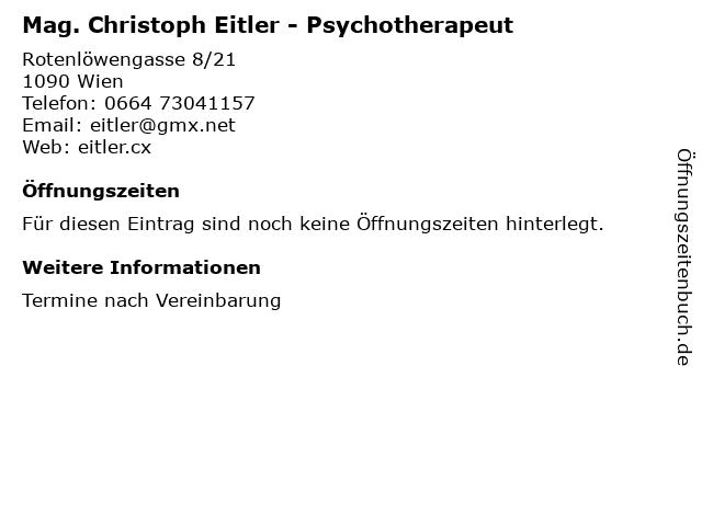 Mag. Christoph Eitler - Psychotherapeut in Wien: Adresse und Öffnungszeiten