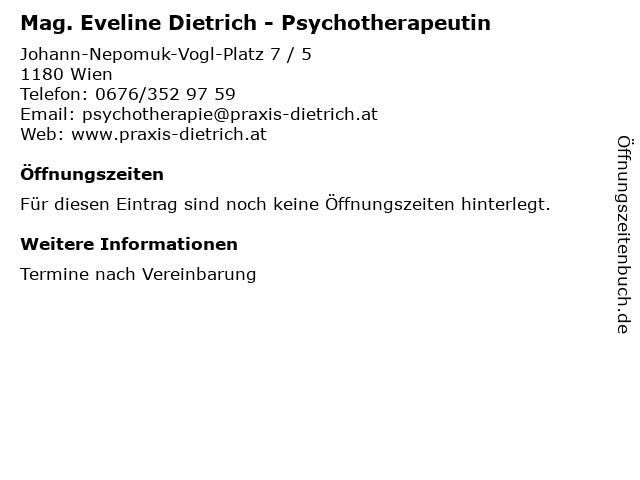 Mag. Eveline Dietrich - Psychotherapeutin in Wien: Adresse und Öffnungszeiten