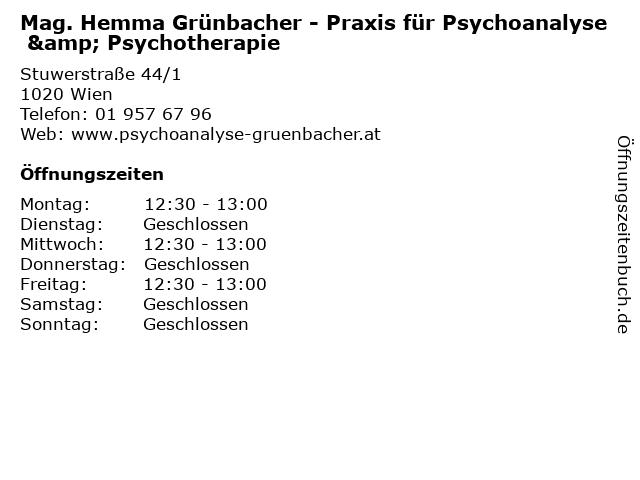 Mag. Hemma Grünbacher - Praxis für Psychoanalyse & Psychotherapie in Wien: Adresse und Öffnungszeiten