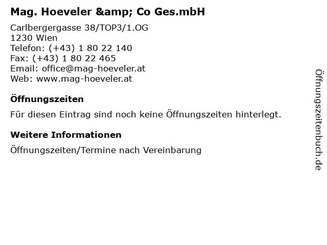 Mag. Hoeveler & Co Ges.mbH in Wien: Adresse und Öffnungszeiten