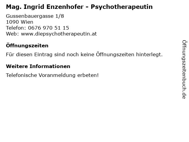Mag. Ingrid Enzenhofer - Psychotherapeutin in Wien: Adresse und Öffnungszeiten