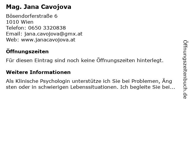 Mag. Jana Cavojova in Wien: Adresse und Öffnungszeiten