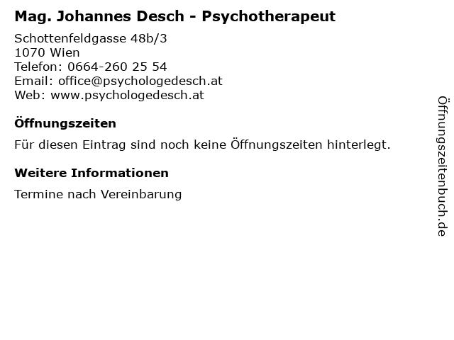 Mag. Johannes Desch - Psychotherapeut in Wien: Adresse und Öffnungszeiten
