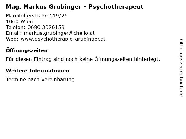 Mag. Markus Grubinger - Psychotherapeut in Wien: Adresse und Öffnungszeiten