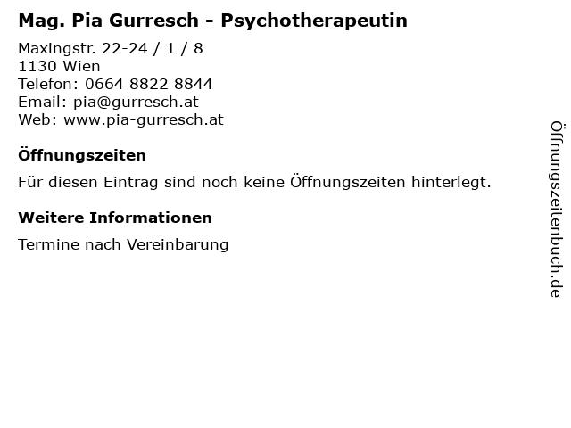 Mag. Pia Gurresch - Psychotherapeutin in Wien: Adresse und Öffnungszeiten