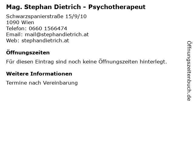 Mag. Stephan Dietrich - Psychotherapeut in Wien: Adresse und Öffnungszeiten