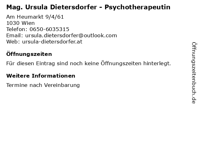 Mag. Ursula Dietersdorfer - Psychotherapeutin in Wien: Adresse und Öffnungszeiten