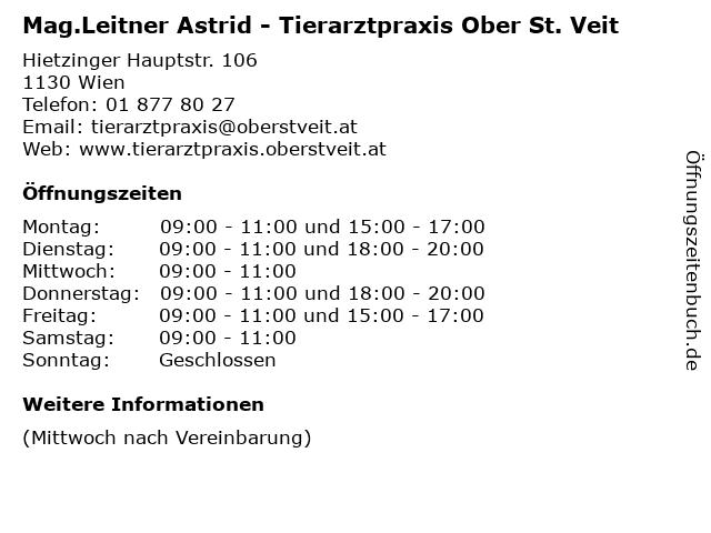 Mag.Leitner Astrid - Tierarztpraxis Ober St. Veit in Wien: Adresse und Öffnungszeiten