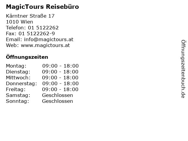 MagicTours Reisebüro in Wien: Adresse und Öffnungszeiten