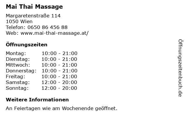 Mai Thai Massage in Wien: Adresse und Öffnungszeiten