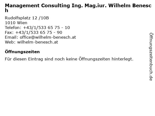 Management Consulting Ing. Mag.iur. Wilhelm Benesch in Wien: Adresse und Öffnungszeiten