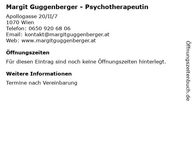 Margit Guggenberger - Psychotherapeutin in Wien: Adresse und Öffnungszeiten