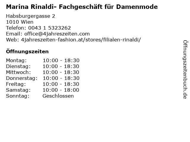 Marina Rinaldi- Fachgeschäft für Damenmode in Wien: Adresse und Öffnungszeiten