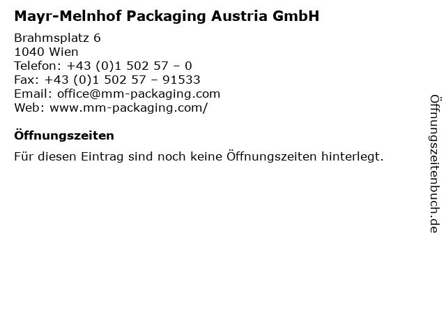 Mayr-Melnhof Packaging Austria GmbH in Wien: Adresse und Öffnungszeiten