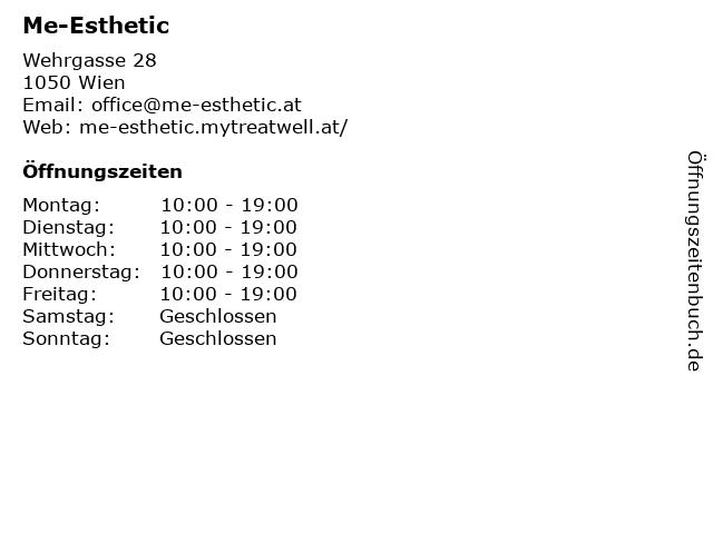 Me-Esthetic in Wien: Adresse und Öffnungszeiten