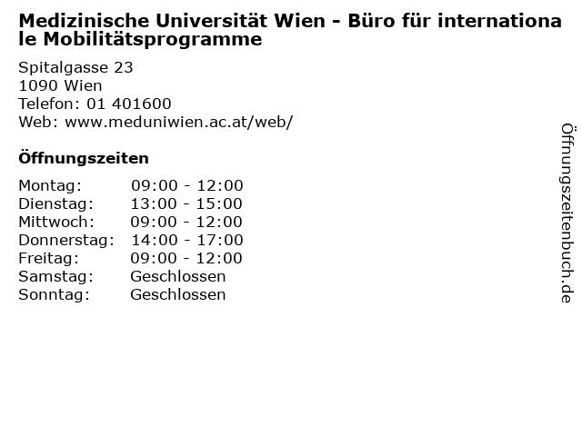 Medizinische Universität Wien - Büro für internationale Mobilitätsprogramme in Wien: Adresse und Öffnungszeiten