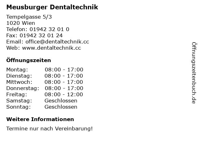 Meusburger Dentaltechnik in Wien: Adresse und Öffnungszeiten