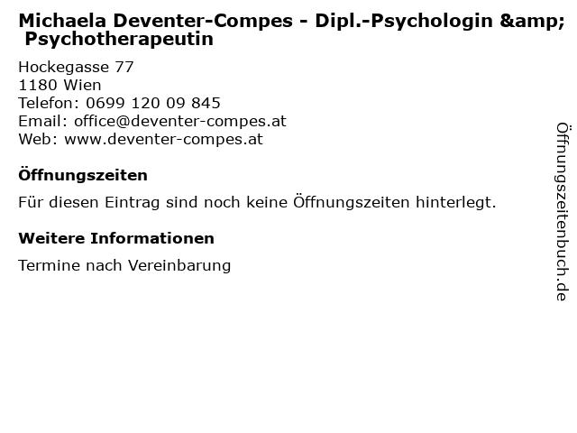 Michaela Deventer-Compes - Dipl.-Psychologin & Psychotherapeutin in Wien: Adresse und Öffnungszeiten