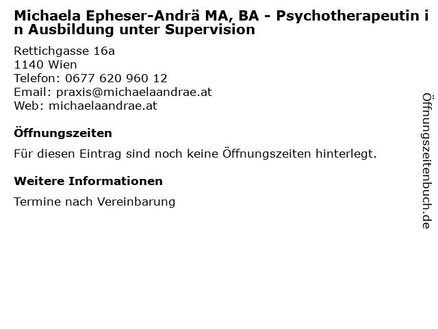 Michaela Epheser-Andrä MA, BA - Psychotherapeutin in Ausbildung unter Supervision in Wien: Adresse und Öffnungszeiten