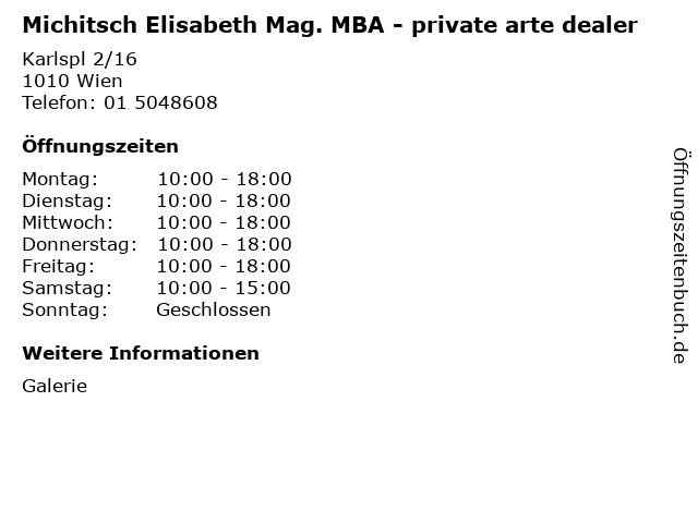 Michitsch Elisabeth Mag. MBA - private arte dealer in Wien: Adresse und Öffnungszeiten