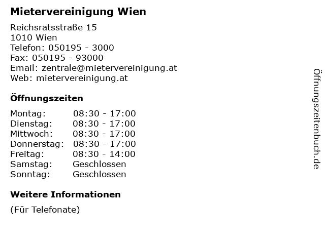 ᐅ öffnungszeiten Mietervereinigung Wien Reichsratsstraße 15 In Wien