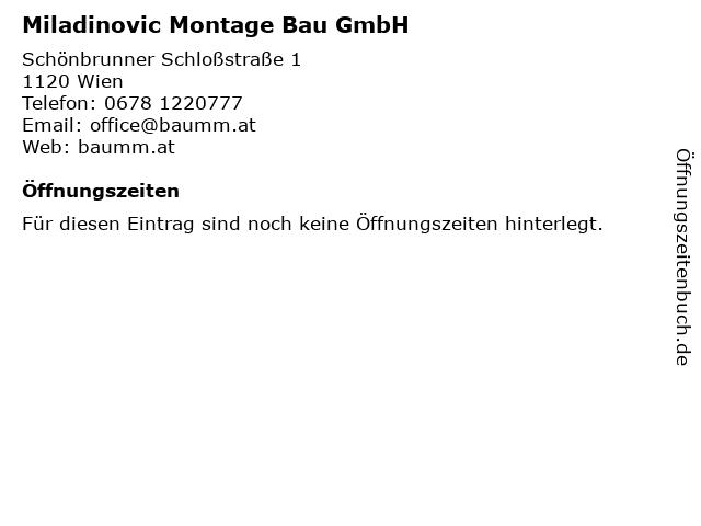 Miladinovic Montage Bau GmbH in Wien: Adresse und Öffnungszeiten