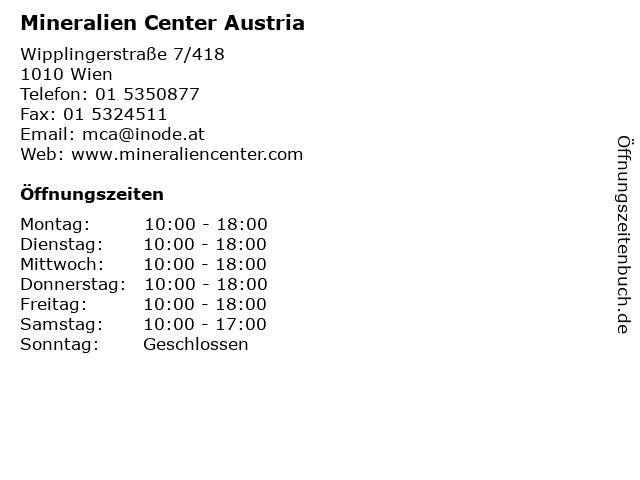 Mineralien Center Austria in Wien: Adresse und Öffnungszeiten