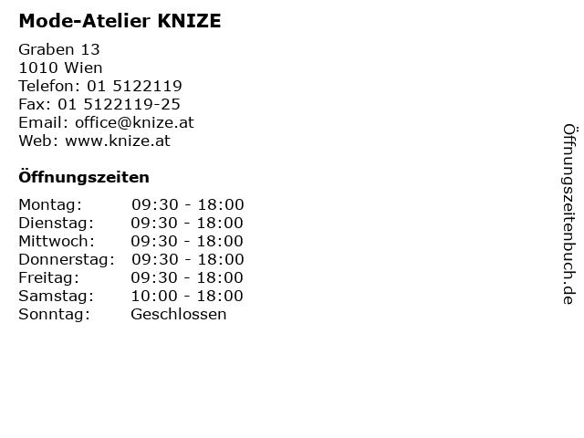 Mode-Atelier KNIZE in Wien: Adresse und Öffnungszeiten