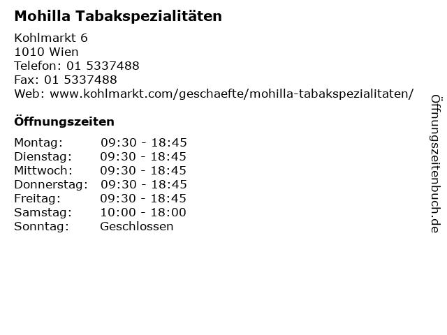 Mohilla Tabakspezialitäten in Wien: Adresse und Öffnungszeiten