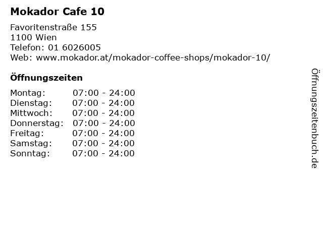 Mokador Cafe 10 in Wien: Adresse und Öffnungszeiten