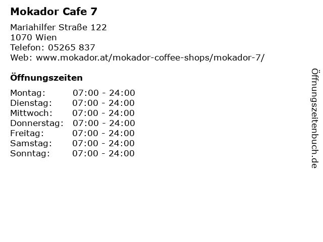 Mokador Cafe 7 in Wien: Adresse und Öffnungszeiten