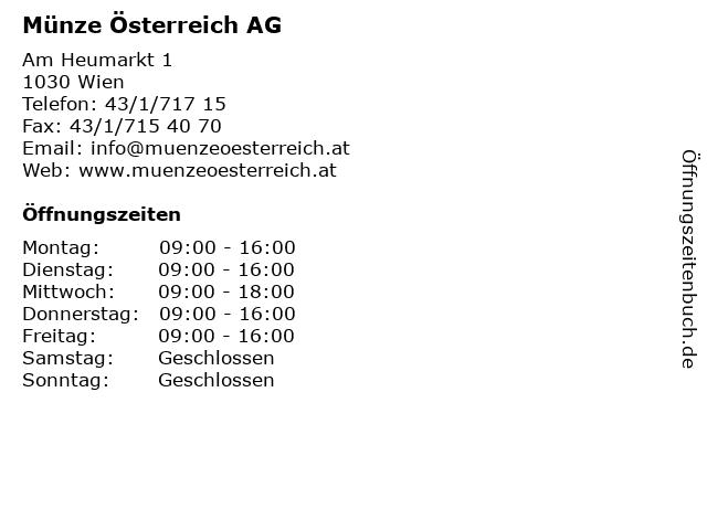 ᐅ öffnungszeiten Münze österreich Ag Am Heumarkt 1 In Wien