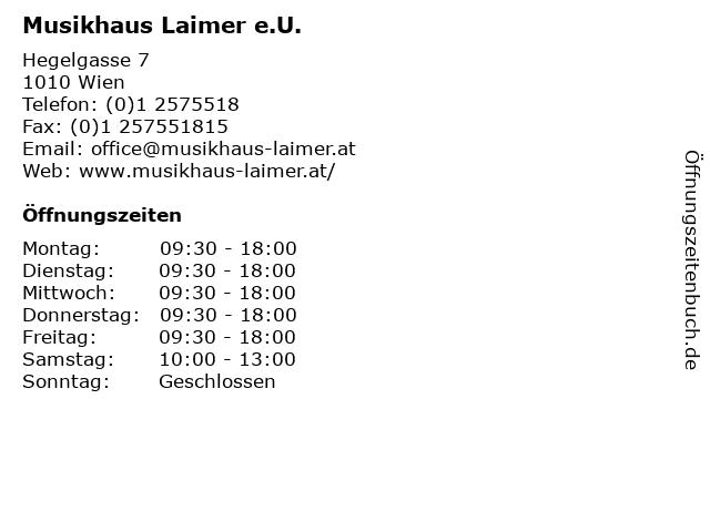 Musikhaus Laimer e.U. in Wien: Adresse und Öffnungszeiten
