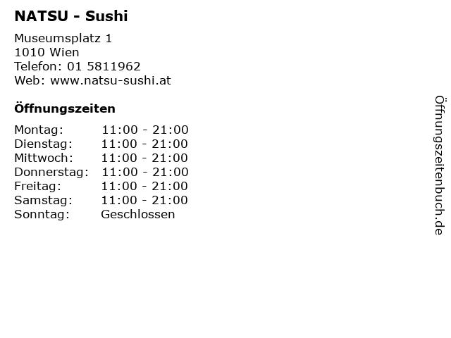 NATSU - Sushi in Wien: Adresse und Öffnungszeiten