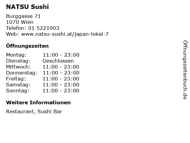 NATSU Sushi in Wien: Adresse und Öffnungszeiten