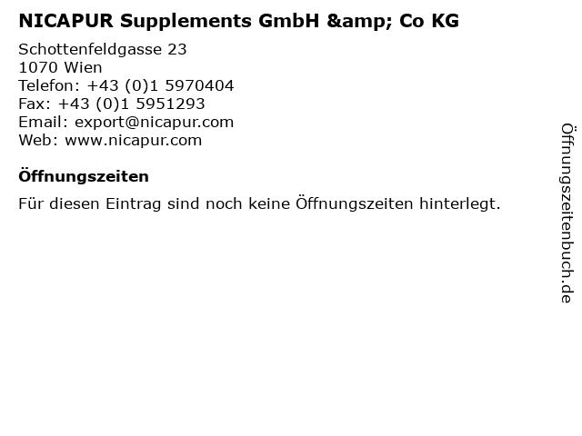 NICAPUR Supplements GmbH & Co KG in Wien: Adresse und Öffnungszeiten