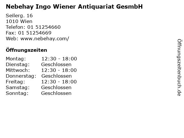 Nebehay Ingo Wiener Antiquariat GesmbH in Wien: Adresse und Öffnungszeiten
