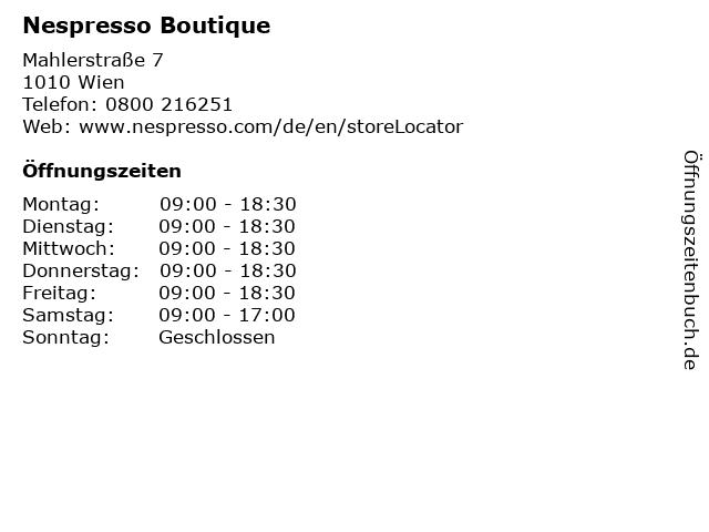 Nespresso Boutique in Wien: Adresse und Öffnungszeiten
