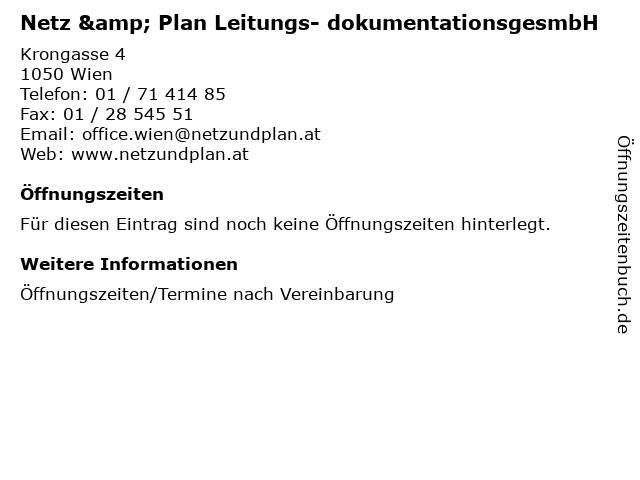Netz & Plan Leitungs- dokumentationsgesmbH in Wien: Adresse und Öffnungszeiten